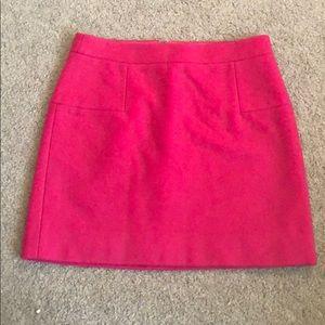 J crew pink wool mini skirt